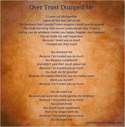 over trust dumped me